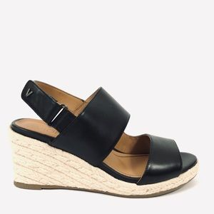 Vionic Brooke Leather Espadrille Wedge Sandal